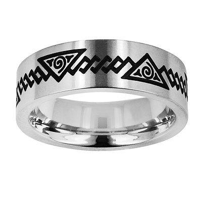 Popular TATU Stainless Steel Ring by Novell Men us Egyptian Pyramid Artwork