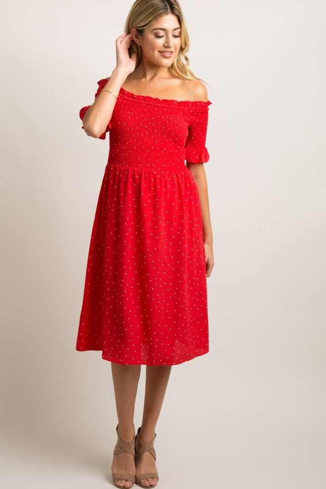 2006fdc983252 Red Polka Dot Smocked Midi Dress A polka dot print maternity midi dress  with smocked bust and short sleeves, an off shoulder neckline, and a slight  ruffle ...
