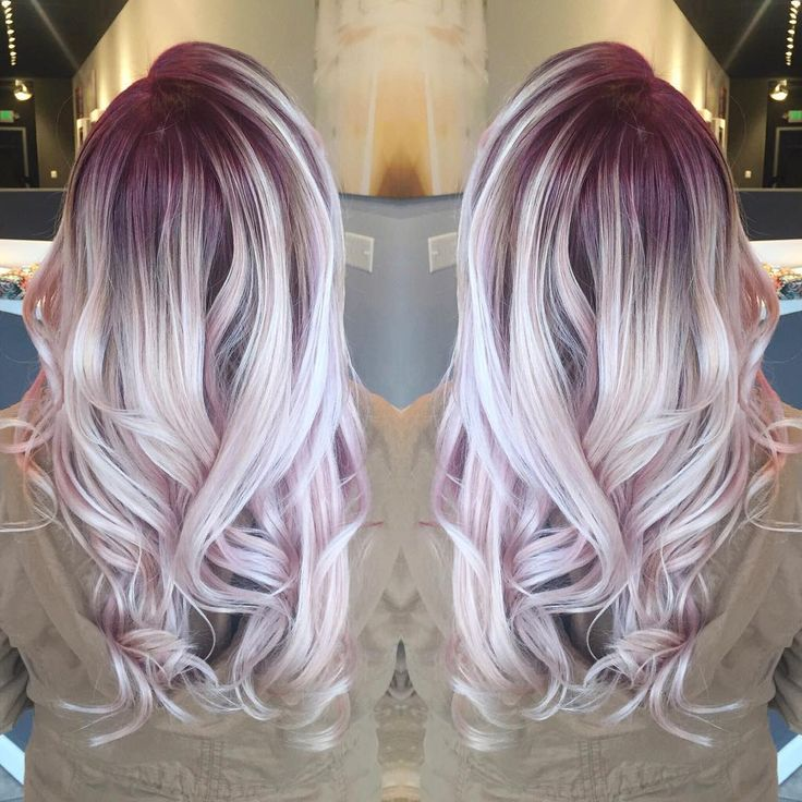 """""""iridescent berry #rootyblonde from the other day! adding a root shadow to your existing blonde in either a natural or vibrant shade is the perfect way to…"""""""