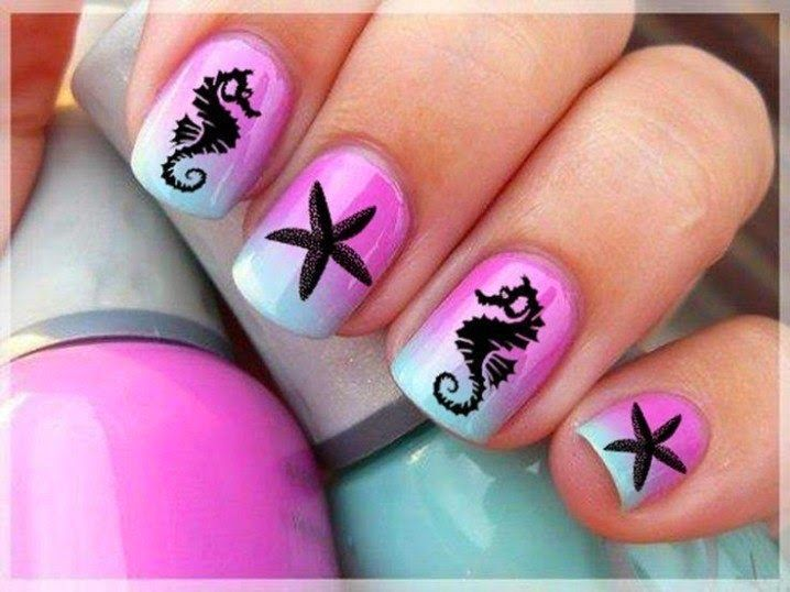 Idée nail art été–couleurs pastel, motifs géométriques, tribaux