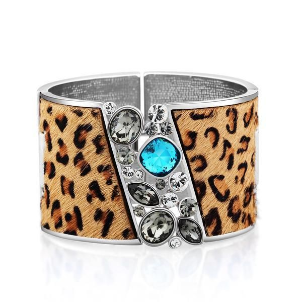 Leopard Wide Crystal Cuff Bangle