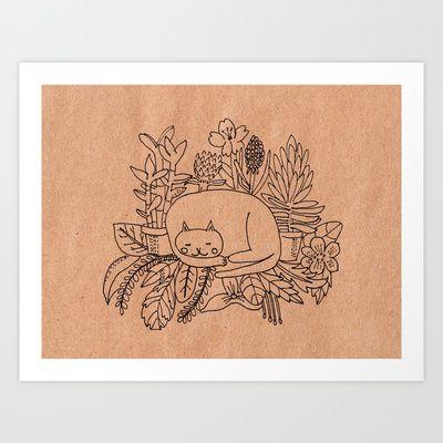 Cat asleep in the garden Art Print by catherineinsch - $20.00
