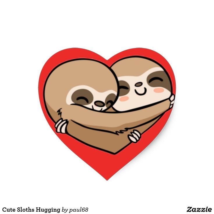 Cute sloths hugging heart sticker pet gifts