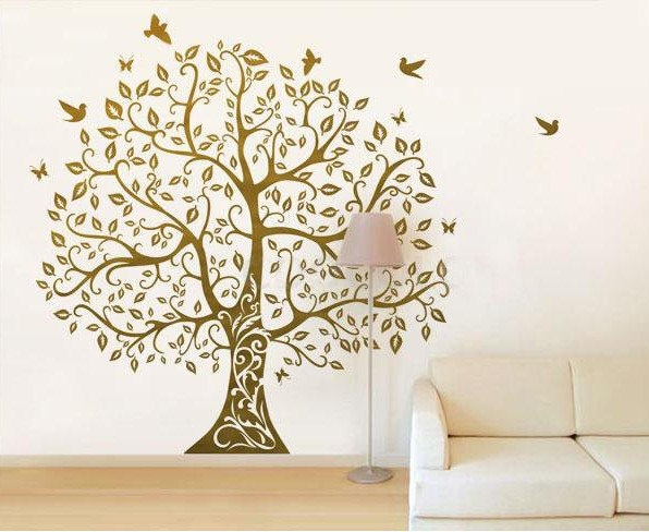 Vinyl Wall Decals Tree wall sticker home arts-Large Bodhi Tree with flying birds. $78.00, via Etsy.