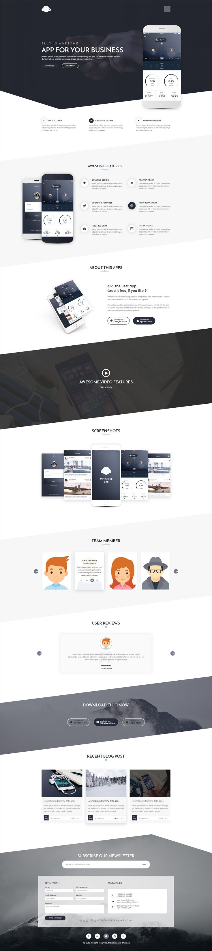 Ello is a wonderful multipurpose #PSD #template for #webdev app landing page website download now➩ https://themeforest.net/item/ello-multipurpose-app-landing-psd-template/18601862?ref=Datasata