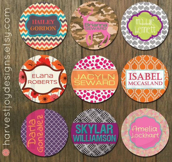 Round Personalized Sticker DESIGN for Kids 2 Inch Round-School Label, Girl Sticker Label, Bag Tag -Digital Design, DIY Printable, Name Label on Etsy, $6.00