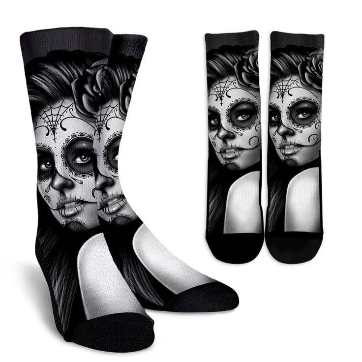 Calavera Girl Tattoo Crew Socks