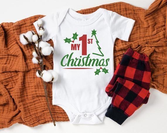 Christmas Baby Bodysuit Red Baby Bodysuit Hello Winter Christmas Bodysuit