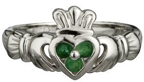 14k White Gold Ladies Claddagh Emerald Set at Claddaghrings.com #valentinesgifts #emeraldrings $899.00