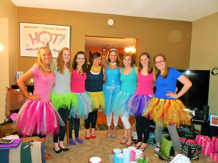 "A picture from my Disney bachelorette party! We chose a Disney character to represent and made our own tutus (much classier than ""male genitalia"" themed party). Left to right: Briar Rose/Aurora/Sleeping Beauty, Tinkerbell, Boo (from Monsters, Inc.), Belle, Cinderella, Elsa (from Frozen), Rapunzel (from Tangled), Snow White"