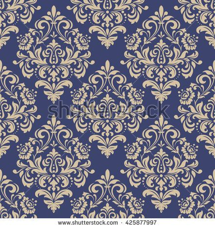 Floral pattern. Wallpaper baroque, damask. Seamless vector background. Gold and black blue ornament