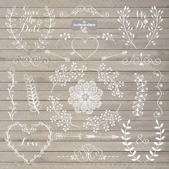 Chalkboard Rustic Wedding Clipart