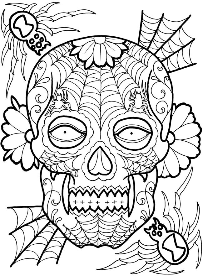 welcome to dover publications sugar skull tattoos - Sugar Skull Tattoo Coloring Pages