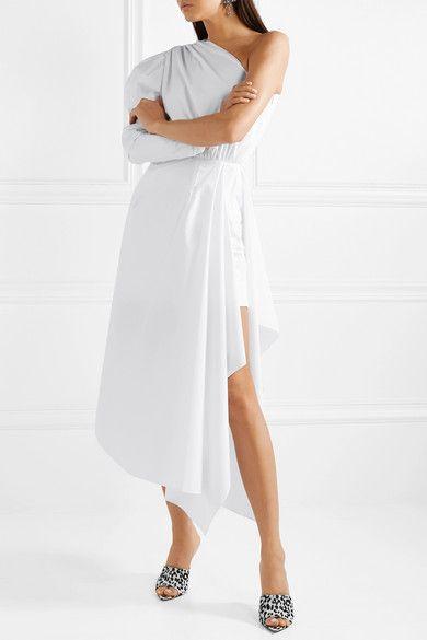 6b697a05448 16ARLINGTON - One-shoulder gathered cotton-poplin midi dress in 2019 ...