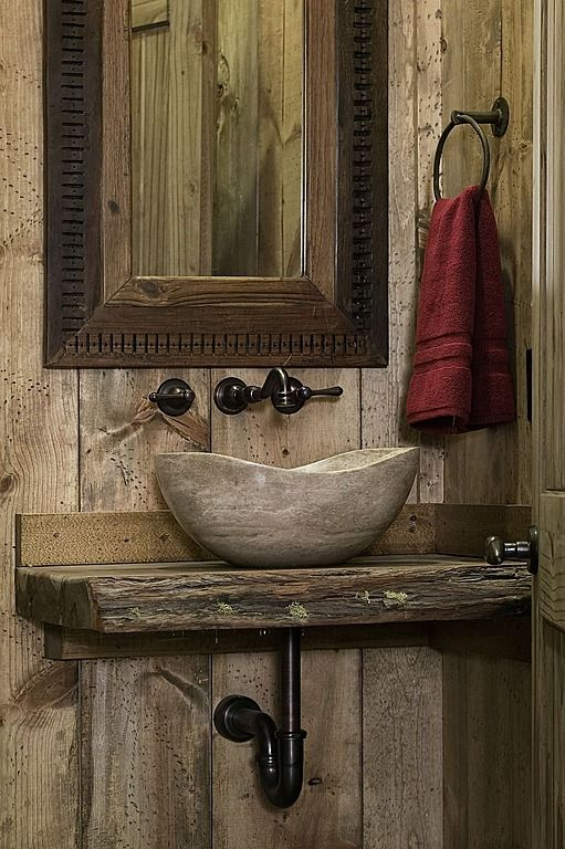 Rustic wood powder half bath with stone vessel sink for Bathroom designs rustic