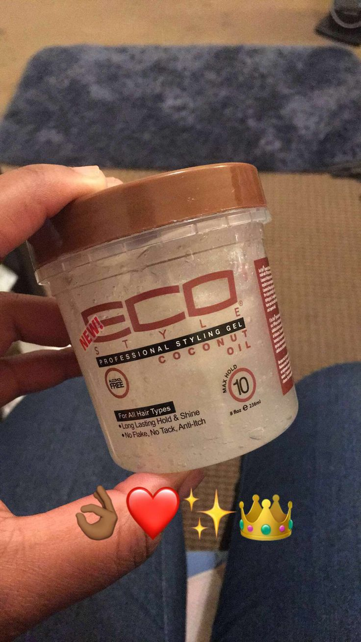 Eco Styler Coconut Oil Infused Gel ❤️ this gel has a stronger hold than I anticipated but isn't tacky and hard like edge tamers, it smells GREAT and it looks beautiful