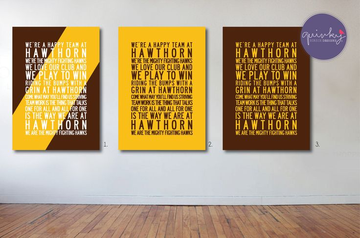 Hawthorn Hawks Team Anthem - Printable digital design, custom size $25 (ready to print on canvas) - Framed A3 print (choice of black, brown or white wood frame, dimensions 40cms x 49cms) $40 (plus postage or free pick up from Geelong area)