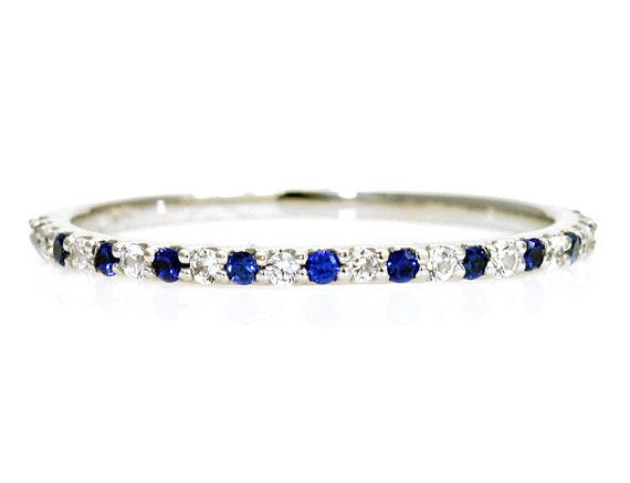 14K Blue Sapphire Anniversary Band Stacking White Sapphire Ring Wedding Band Birthstone Ring White Yellow Rose Gold