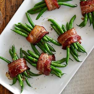 Green Bean Bundles with Bacon and Brown Sugar | Williams-Sonoma  I made these with maple syrup drizzled instead of the brown sugar. Very good.