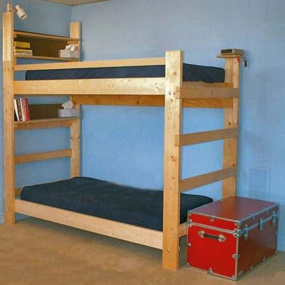 Heavy Duty Solid Wood Bunk Bed 1000 Lbs Wt. Capacity Twin Size Extra Long With Double Bookcase