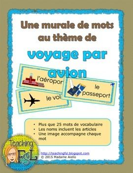 "$ Set of word wall cards that I created for a dramatic centre with an airline theme. It contains 27 cards (one which is a duplication with alternate Québecois vs more ""standard"" translations of ""drink"") each with the word in French, article if needed, and an image to support comprehension and enable the students to use the vocabulary more easily while imagining authentic travel experiences or during role plays."