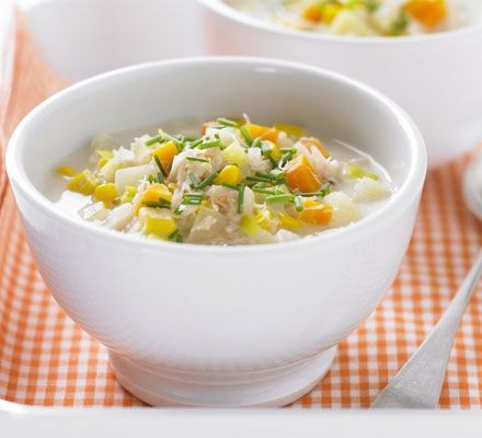 Crab & sweetcorn chowder1 onion, finely chopped 1 leek, green and white parts separated and sliced 2 carrots, chopped 850ml-1 litre/1½ pints - 1¾ pints low-sodium chicken or vegetable stock 1 large potato, diced 175g/ 6oz frozen sweetcorn 170g can white crabmeat, drained 4 tbsp light crème fraîche 1 tsp chopped chives