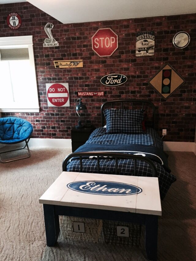 Brick wallpaper  arrangement of metal signs. 25  unique Boys car bedroom ideas on Pinterest   Car bedroom ideas