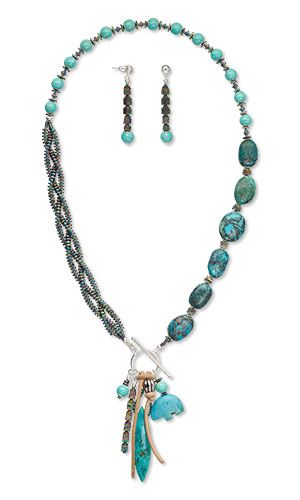 Jewelry Design - Triple-Strand Necklace and Earring Set with Turquoise Gemstone Beads, Hemalyke™ Beads and Ellada Leather™ Cord - Fire Mountain Gems and Beads