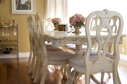 dining room- refinished table and chairs project. french country meets shabby chic