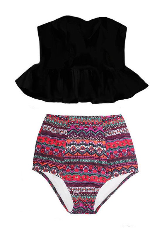 PRODUCT INFORMATION    Retro padded top and high-waist bottom swimsuit.          Looking for more varieties of this pattern swimsuits, please take a