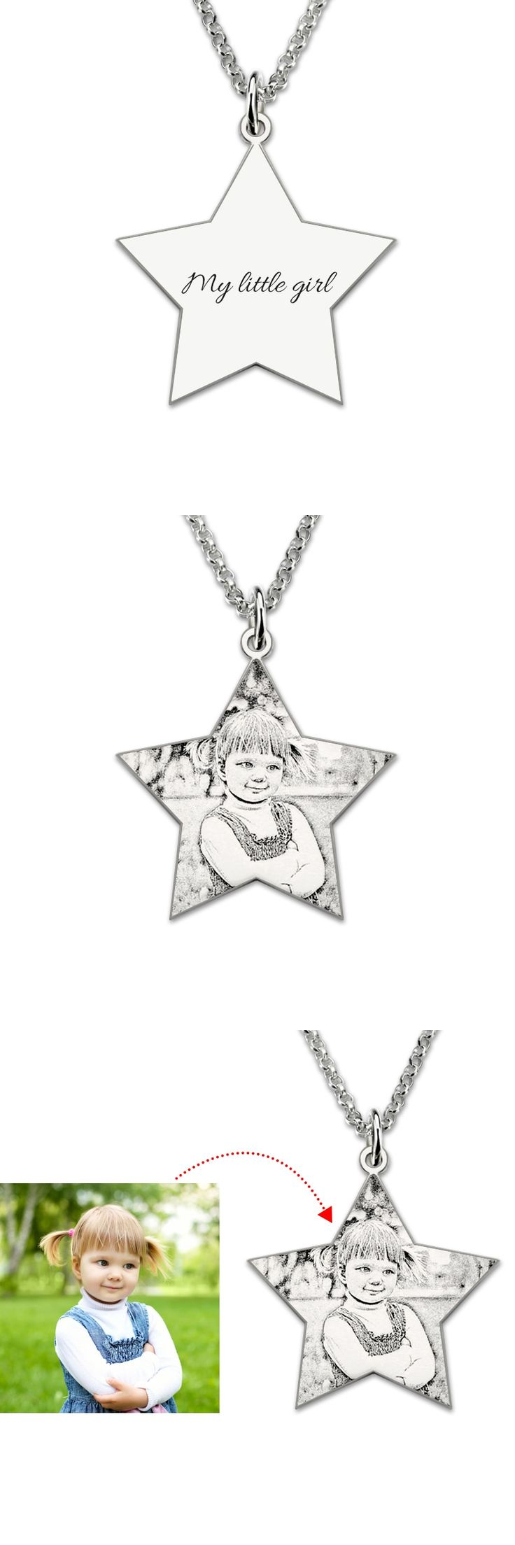 Wholesal Custom Picture Necklace Sterling Silver  Personalized Pentagram Photo Engraved Necklace Memorial Jewelry Gift