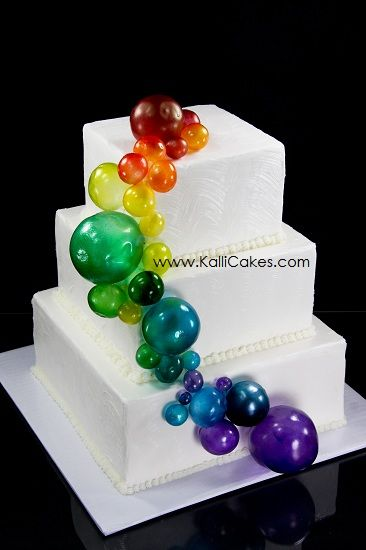 Gelatin bubbles which have been airbrushed adorn this buttercream textured cake.