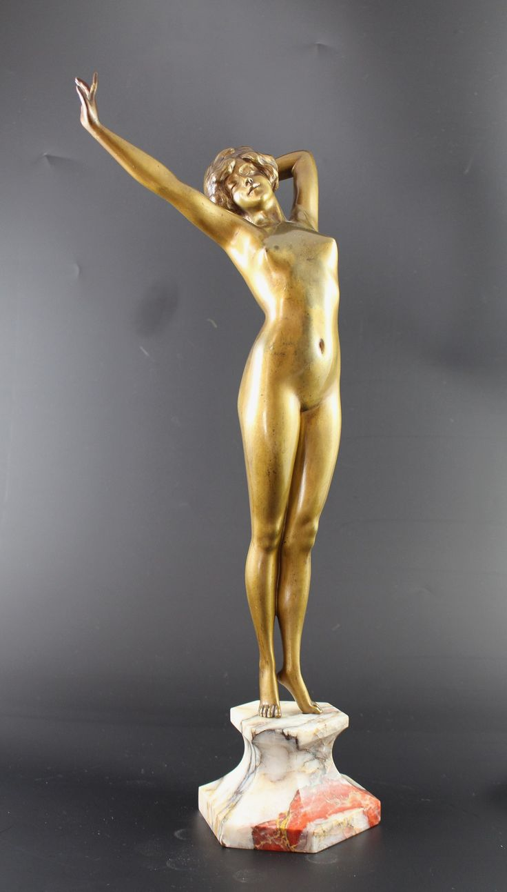 Art Deco Nude by Paul PHILIPPE - Le Reveil, a cold painted Art Deco bronze nude by Paul Phillipe (1870-1930), depicting a young lady stretching gracefully on waking. Set onto a variegated marble plinth. Signed P Phillipe to marble. H 44cm. French, ca. 1925