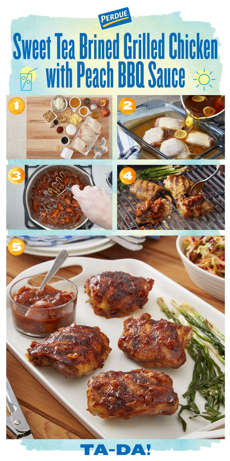 You might want to grab a napkin before reading this recipe because you are going to be drooling! Get our Sweet Tea Brined Grilled Chicken with Peach BBQ Sauce at perdue.com.