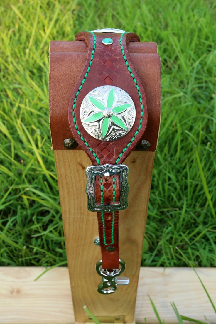 Wither Strap with Green Decoration by KellysLeatherDesign on Etsy