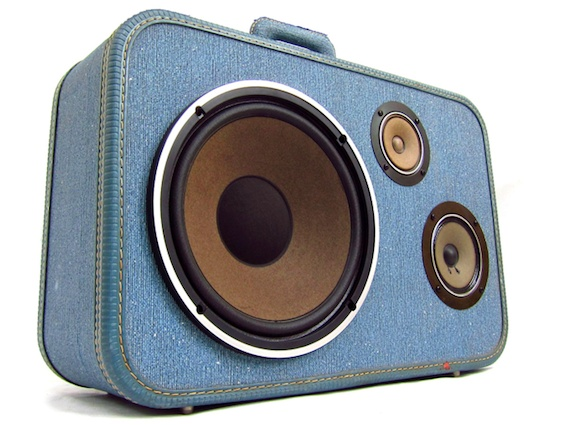 The BoomCase Store carries vintage suitcases into which the artist has incorporated old boom box speakers. Hook up your iPod or iPhone for a portable speaker system. The charge lasts 10+ hours!