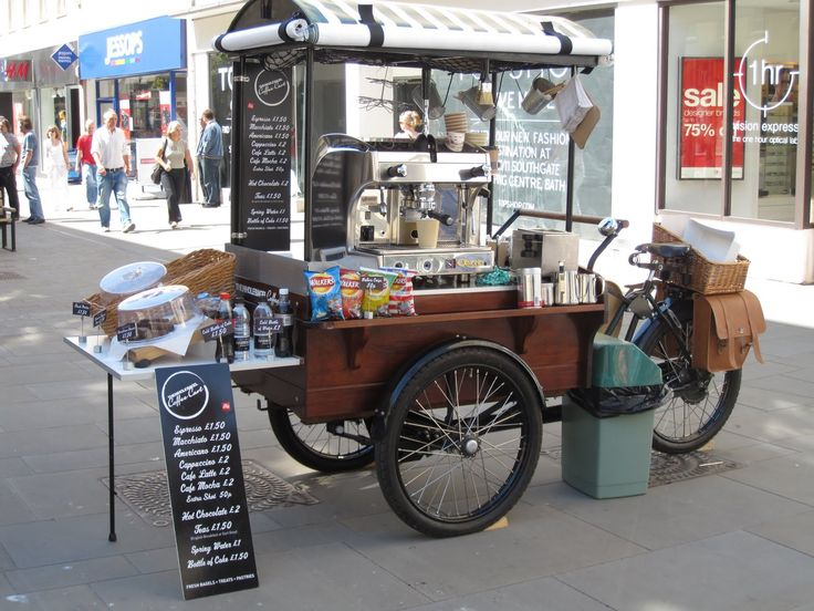 Coffee Cart - not sure it looks comfortable to work from…Im hoping that machine slides towards the user - the wheel is in the way!