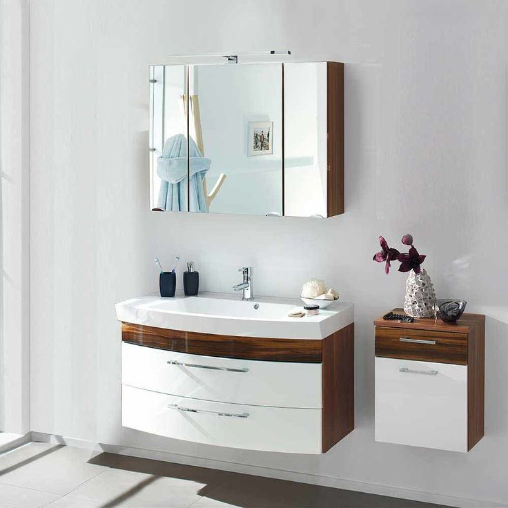 Badezimmer Kombination In Hochglanz Weiß Walnuss (3 Teilig) Jetzt Bestellen  Unter: Https