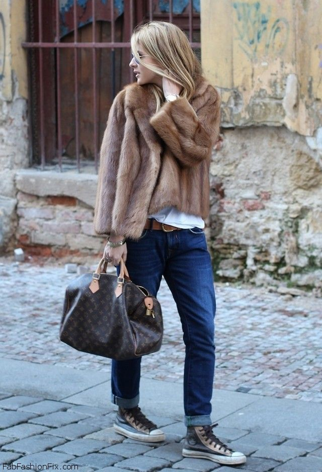 converse street style | Louis Vuitton bag, fur jacket, boyfriend jeans, high top converse's