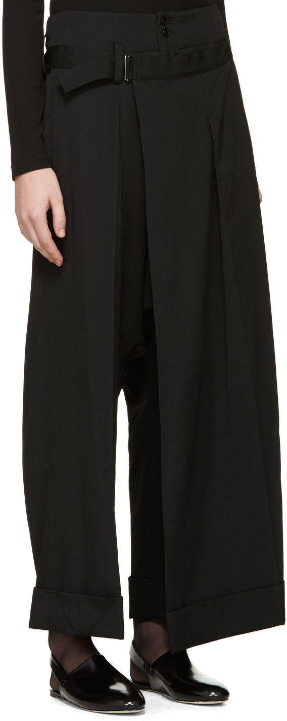 Yohji Yamamoto Black Sarouel Wrap Trousers: