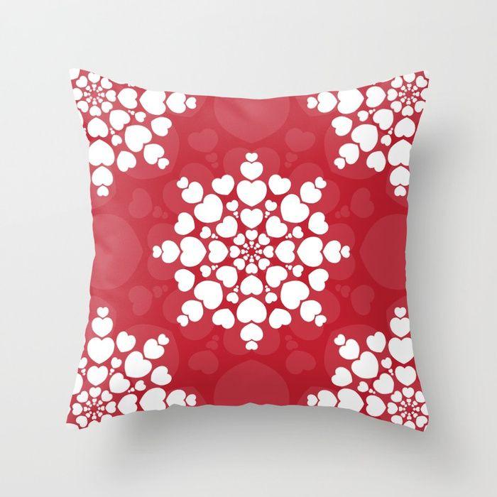 Valentine heart mandala, romantic and love Throw Pillow