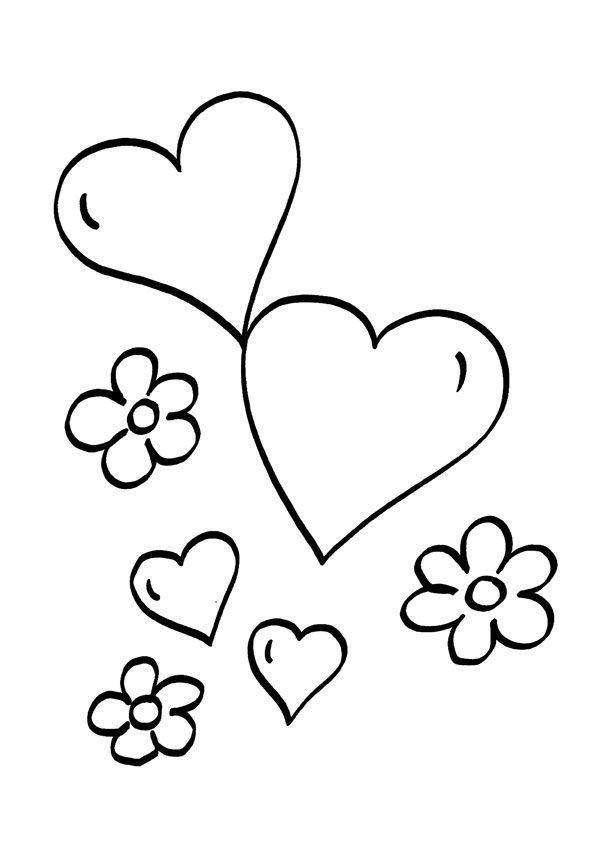 Corazones Y Flores Dibujo Para Colorear E Imprimir Dibujos