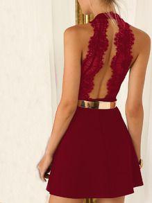 robe dos dénudé dentelle sans manche -rouge bordeaux -French SheIn(Sheinside)                                                                                                                                                                                 Plus