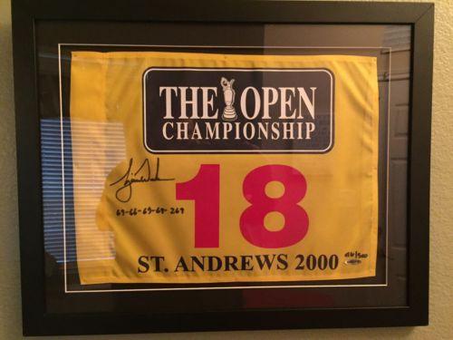 Tiger Woods LE UDA Signed The Open Championship 2000 British PGA Golf Pin Flag