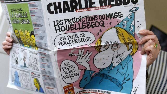 Het satirische weekblad Charlie Hebdo thematiseerde in zijn jongste nummer, dat vandaag is verschenen, het ophefmakende boek 'Soumission' (onderwerping…