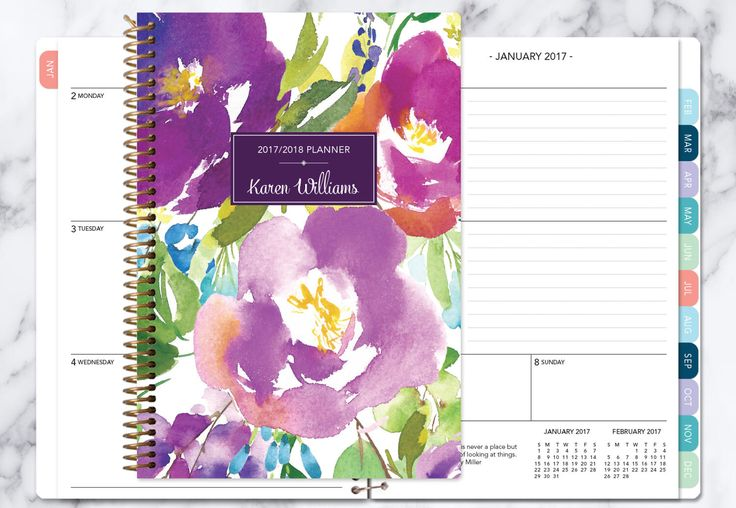 personalized planner 2017 & 2018 calendar | add monthly tabs custom weekly student planner | planner agenda | violet watercolor floral by posypaper on Etsy https://www.etsy.com/ca/listing/521171061/personalized-planner-2017-2018-calendar
