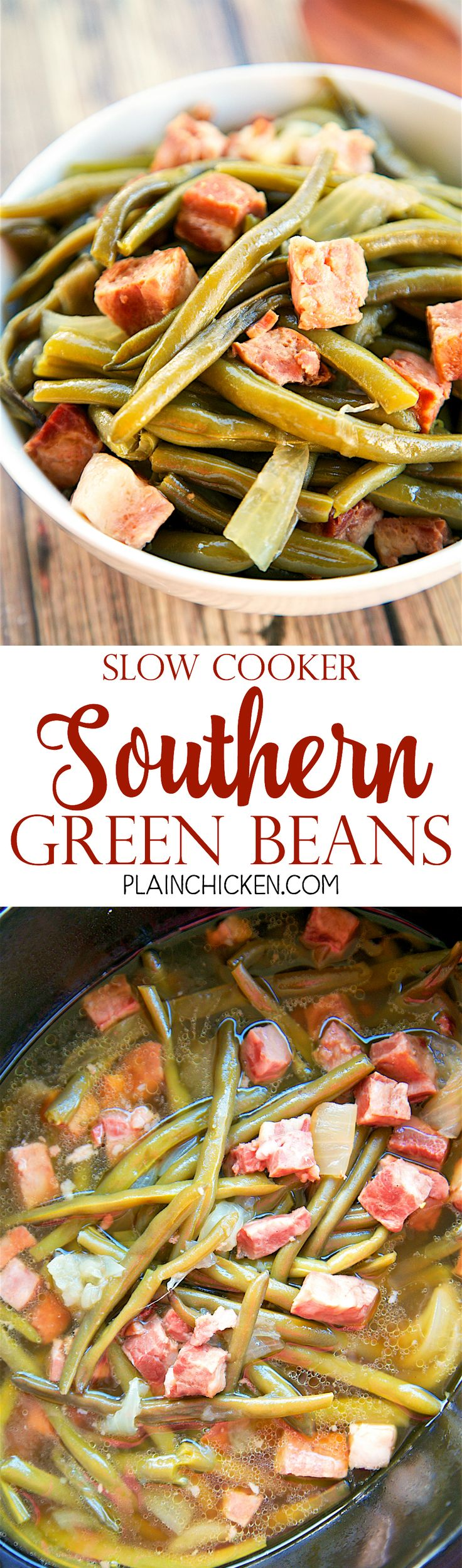 Slow Cooker Southern Green Beans - THE BEST green beans EVER! Only 5 ingredients - fresh green beans, ham, onion, cider vinegar, chicken broth. Dump everything in the slow cooker at it does all the work. Great for holiday meals! We make these all the time!!