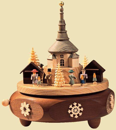 """Käthe Wohlfahrt - Online Shop   """"Le marché de Noël de Seiffen"""", Boîte à musique   Rothenburg ob der Tauber"""