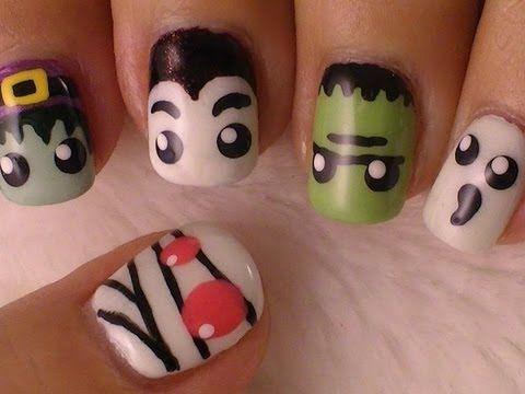 Halloween Monsters Nail Art, adorable! (Using paint and nail polish)