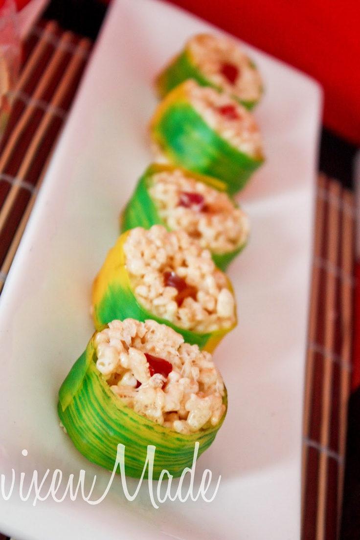 candy sushi - fruit roll ups and rice krispies. Perfect I love candy and hate sushi. ha
